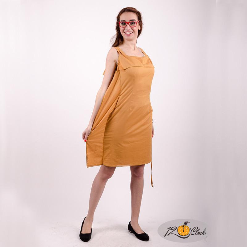 Вталена къса памучна рокля