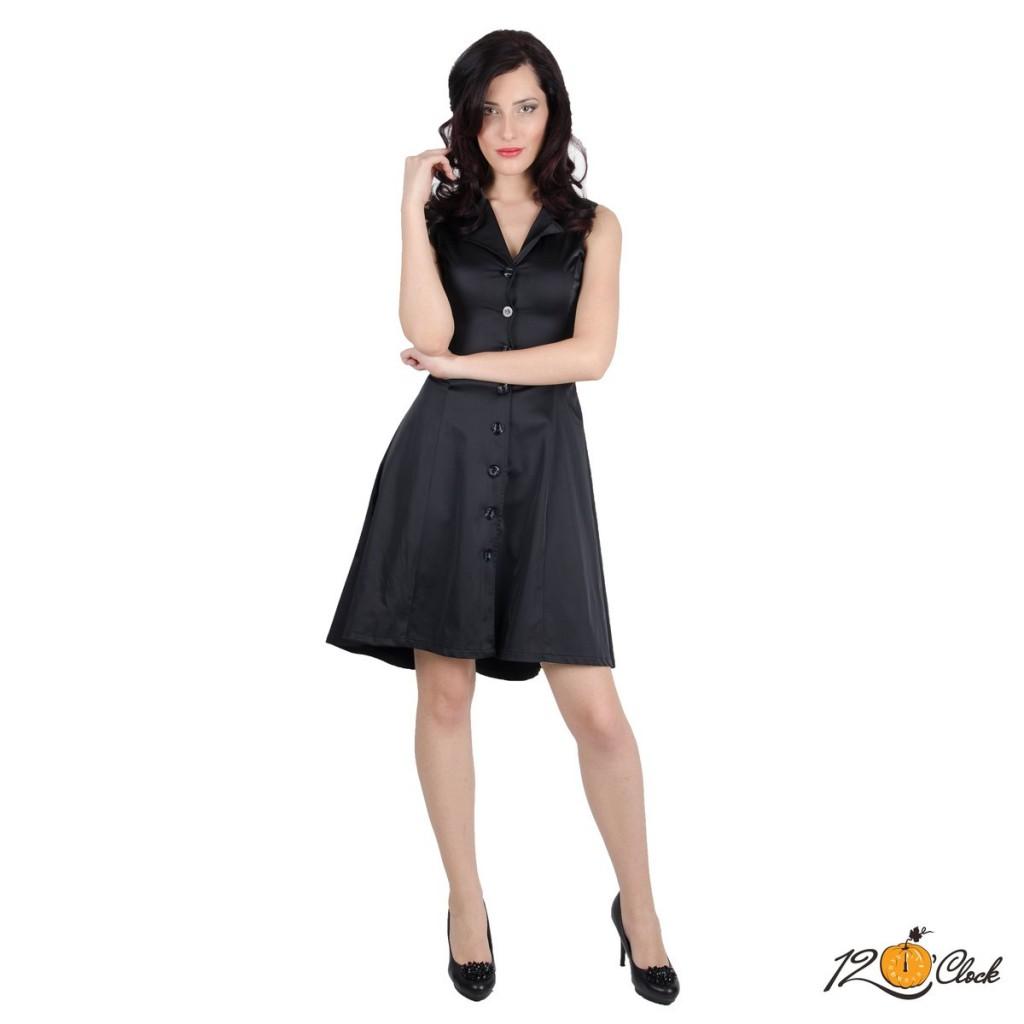 Разкроена черна рокля без ръкави