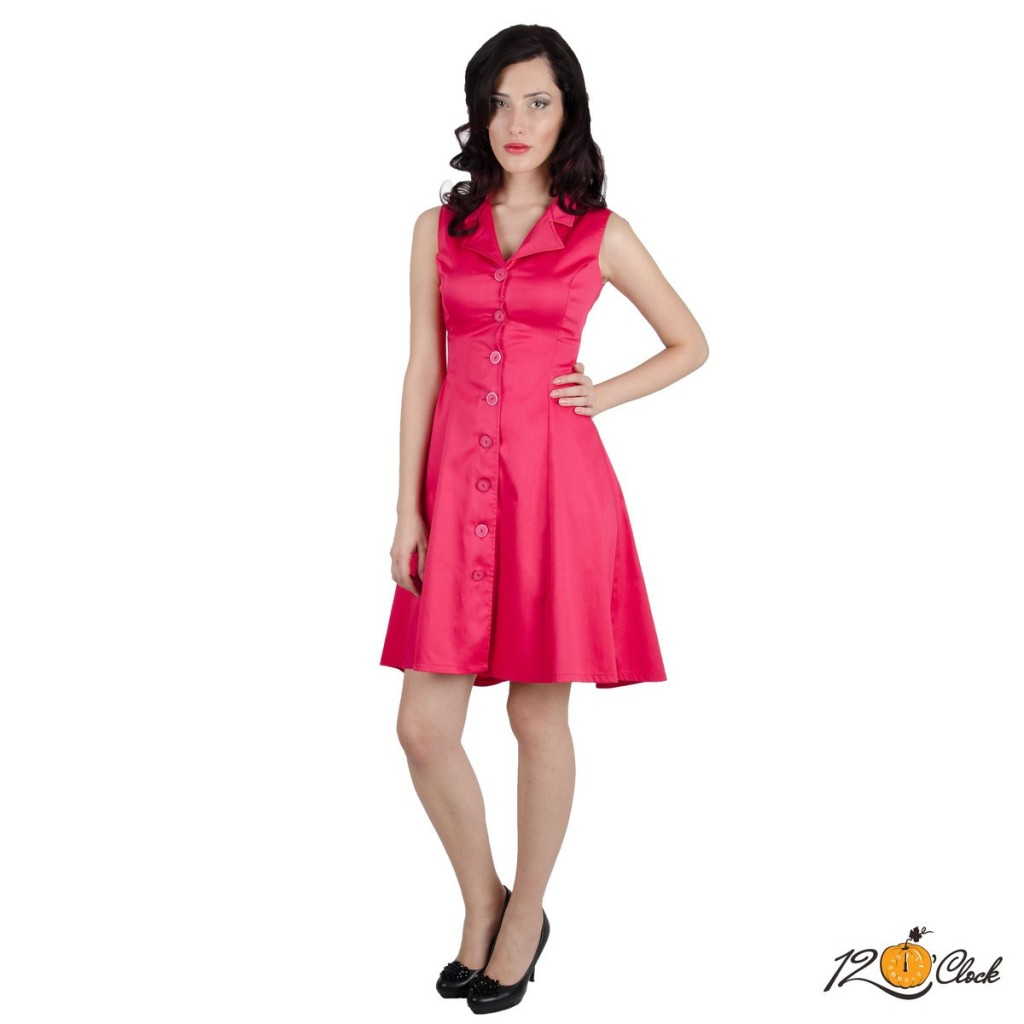 Разкроена цикламена рокля без ръкави
