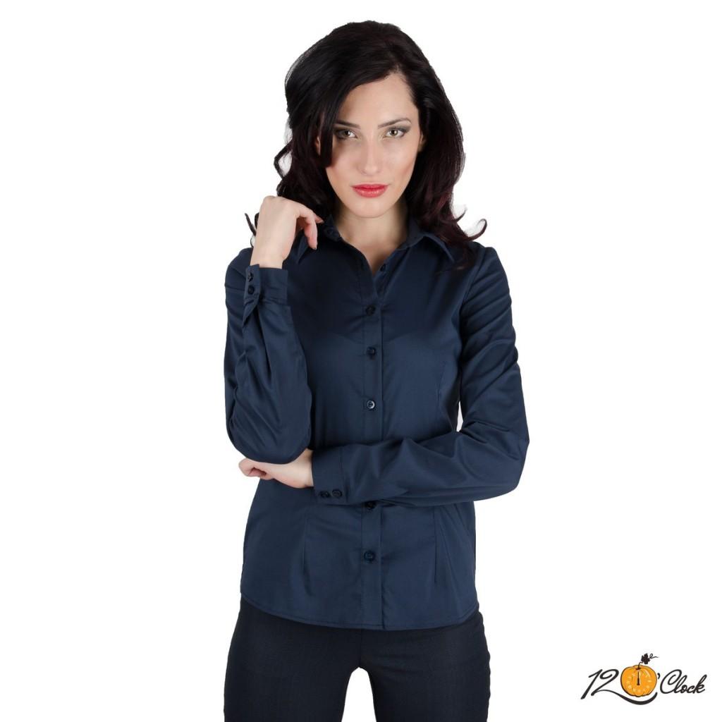 вталена тъмно синя риза