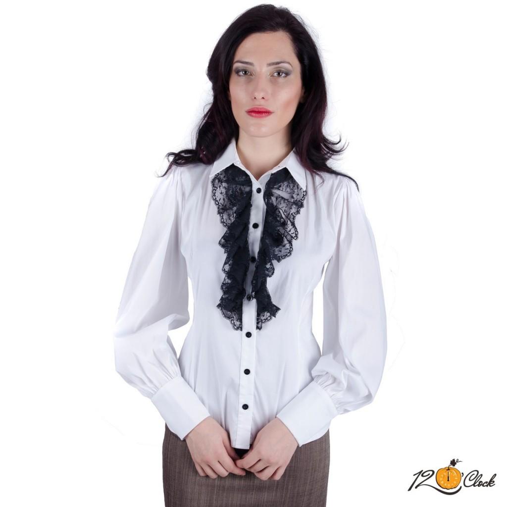"""Класическа бяла риза """"Дантелено жабо"""""""