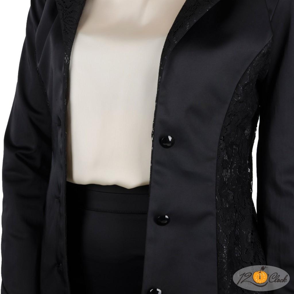черно сако с дантелен ревер