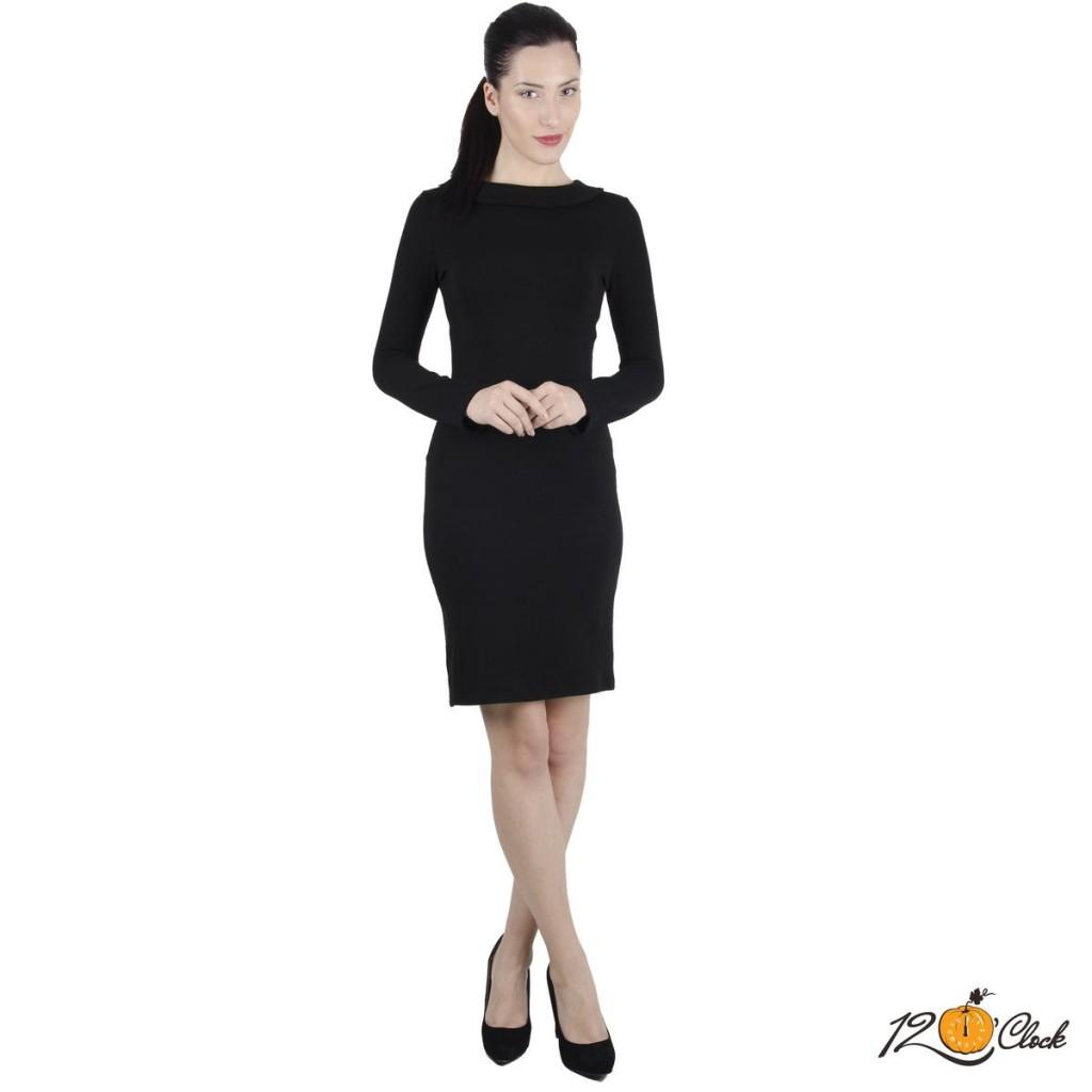 черна вталена рокля с дълъг ръкав