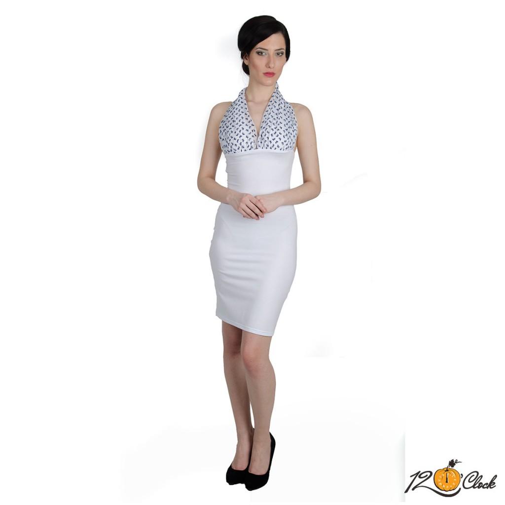 бяла рокля от трико