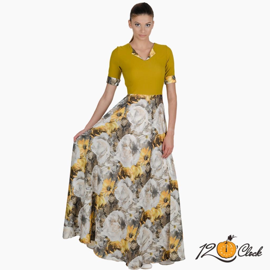 """дълга рокля """"Акварелни слънчогледи"""""""