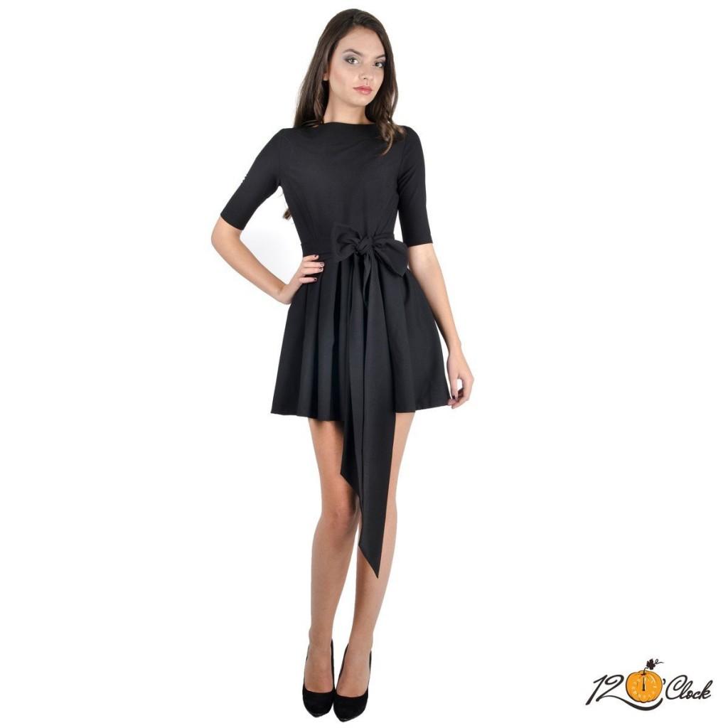 """черна разкроена рокля """"Черен канон"""""""