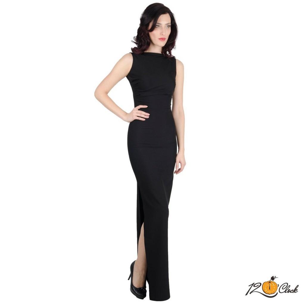 официална дълга черна рокля