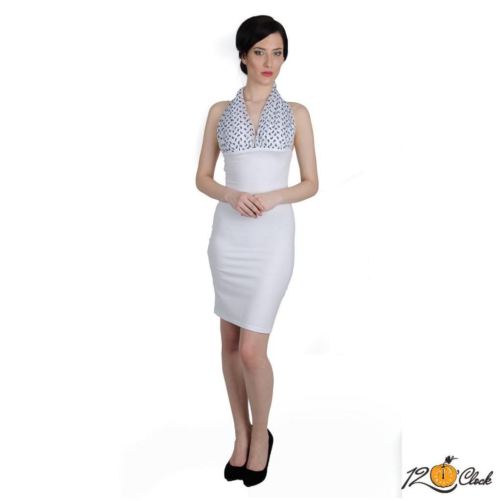 рокля от бяло трико