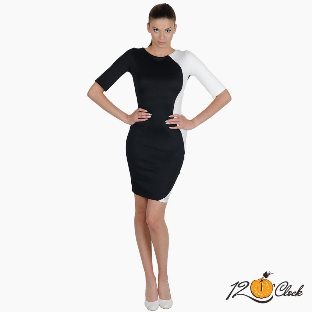 "вталена рокля ""Black and White"""