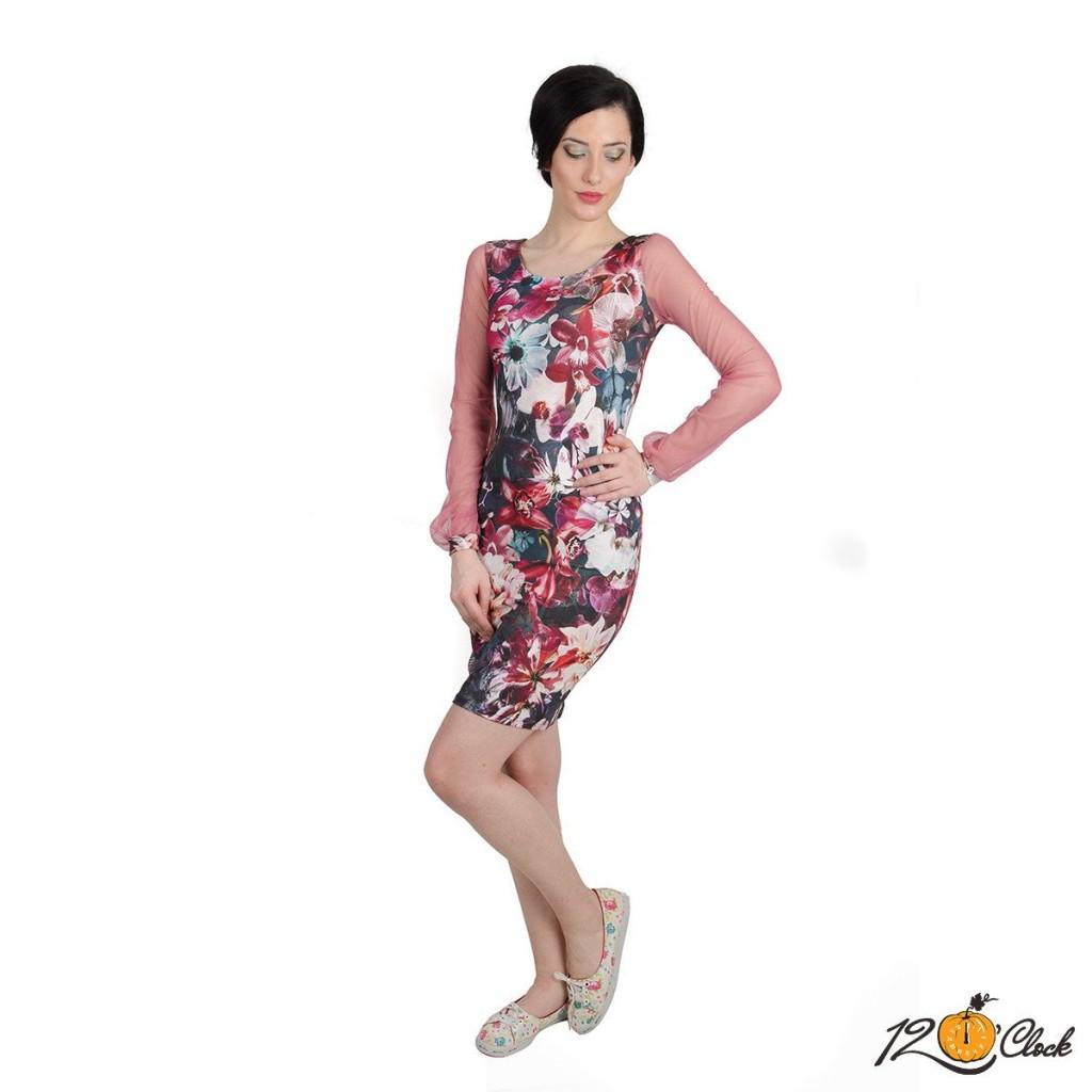 """роклята с принт """"Огнени орхидеи"""""""