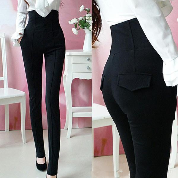 дамски черен панталон  с висока талия