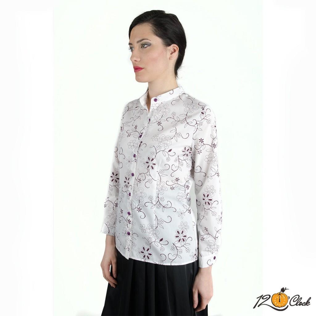 """памучена риза """"Лилави цветя"""""""